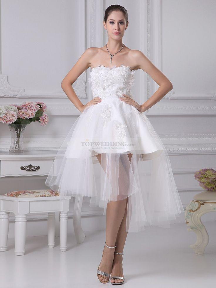 Rashada - corte a strapless vestido de novia de satén con apliques $225.99 Vestidos de Novia de Talla Pequeña