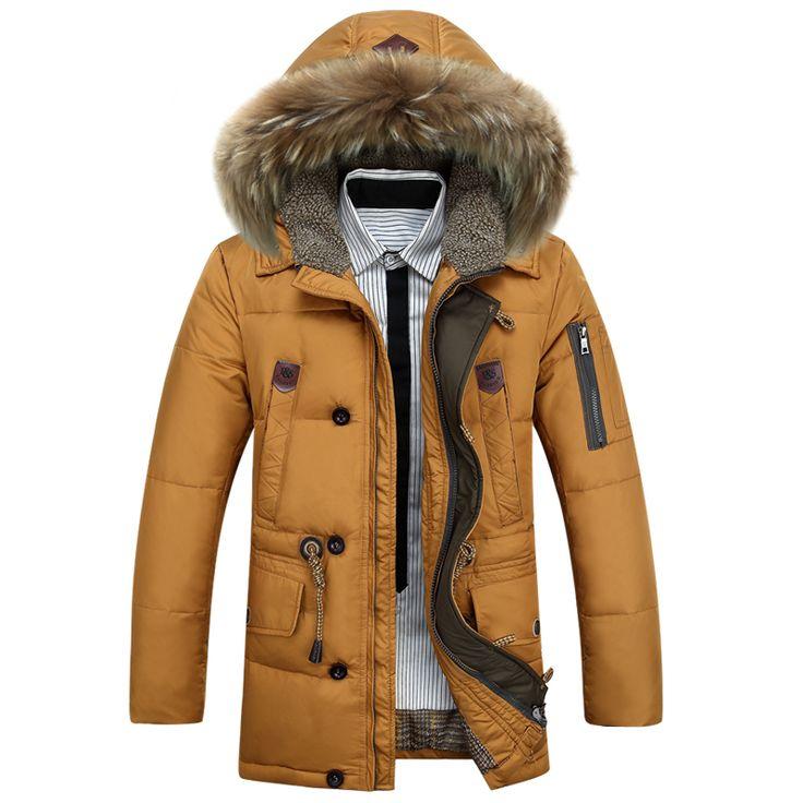 Kuyomens pria bawah jaket mens merek tebal hangat kerah bulu berkerudung Bebek Bawah Mantel Laki-laki Jaket Kasual Musim Dingin Pria chaqueta hombre