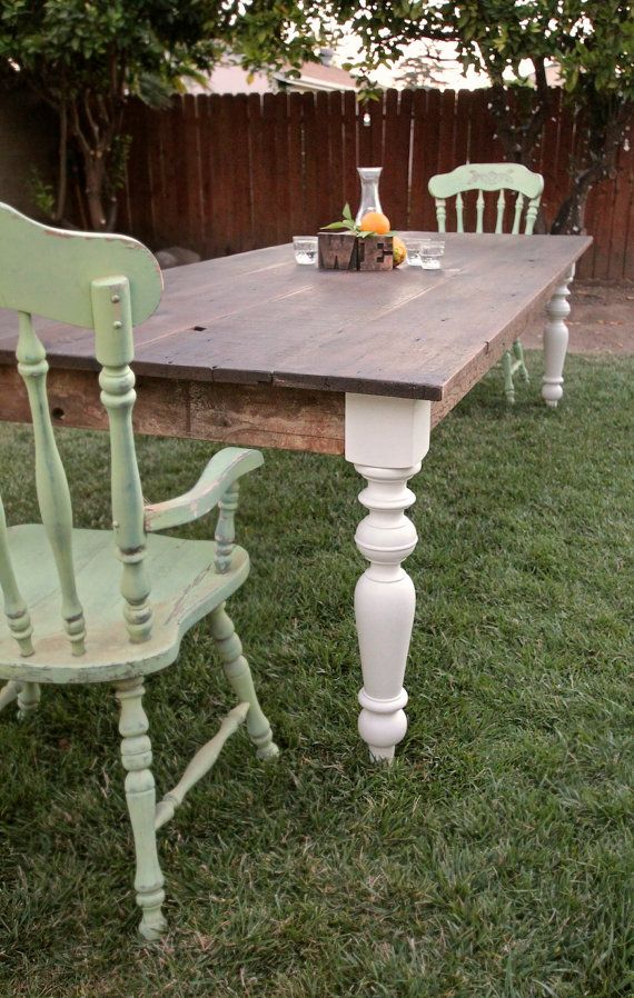 large finished 8ft reclaimed wood farmhouse dining table painted