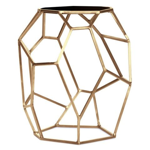 Matrix Gold Side Table. A geometrically sculptural table hand made from satin brass with a black marble top, this piece is a beautiful work of art!   – Laurier Blanc | Unique Home Decor From Around The World