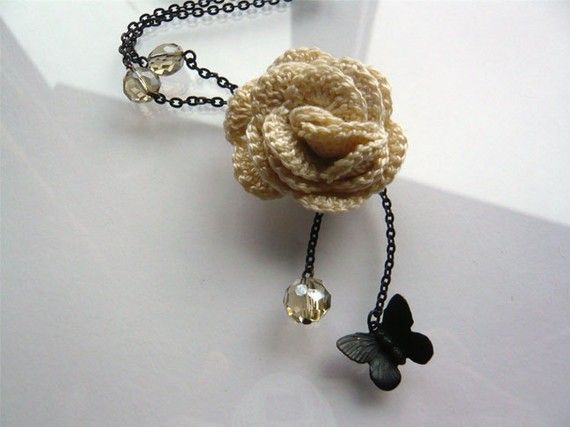Crocheted Jewelry  Crochet Necklace  Butterfly and Rose by 3pearls, $34.00