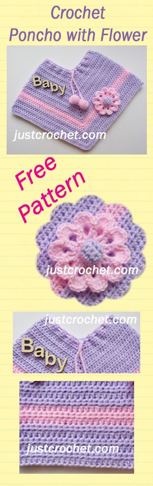Free baby crochet pattern for poncho. #crochet