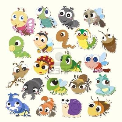 Set van cute cartoon insecten Stockfoto