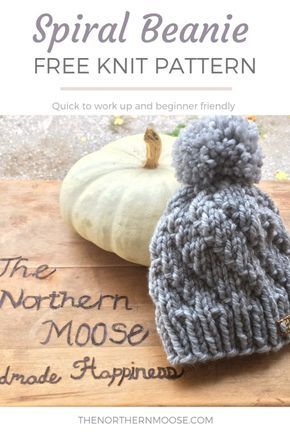 Spiral Beanie Knit Pattern - free pattern with pattern for Adult ... a4ddd0896a3