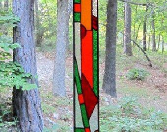 Elegant Stained Glass Panel suncatcher window by hankbarnes1234