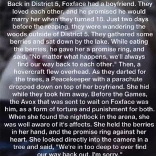 the hunger games-foxface. I seriously have tears streaming down my face right now.