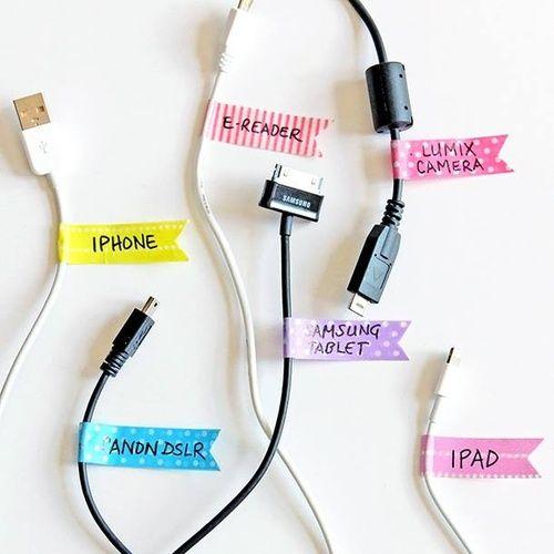 Washi Tape pour identifier les plugs. Génial! On peut pairer les items par code de couleurs, puis les identifier, et les retirer au besoin sans coller les fils.