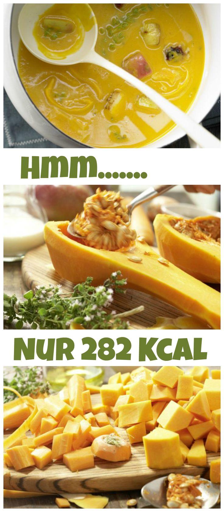 Löffel für Löffel ein sanft-sahniger, sättigender Genuss: Kürbis-Möhren-Suppe – smarter mit gebratenem Apfel und Cheddar-Käse |http://eatsmarter.de/rezepte/kuerbis-moehren-suppe-smarter