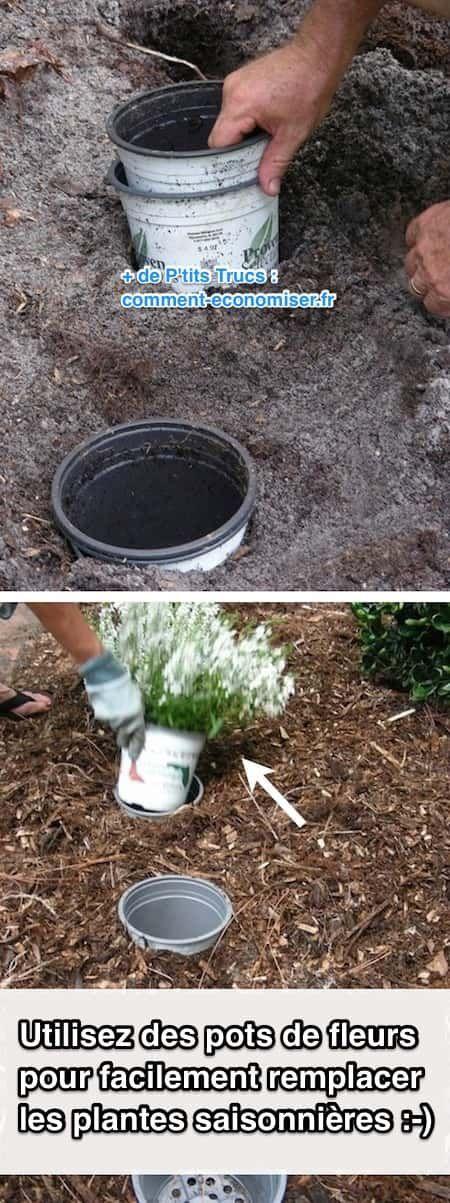 Mettez des pots de fleurs en terre pour facilement remplacer les plantes saisonnières et les plantes annuelles.