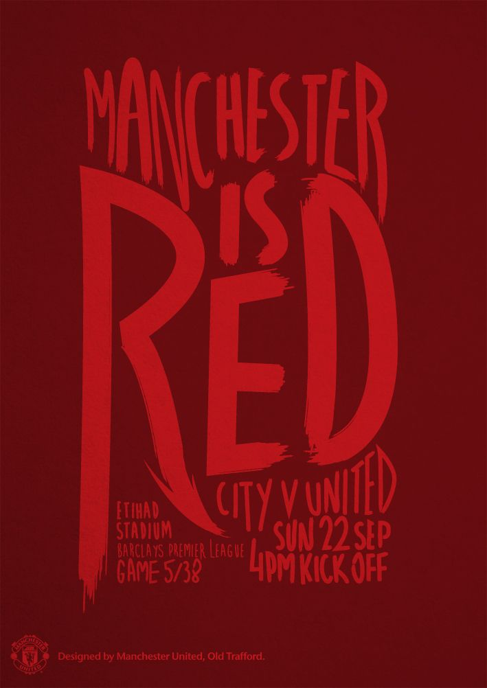 Match poster. Manchester City vs Manchester United, 22 September 2013. Designed by @manutd.