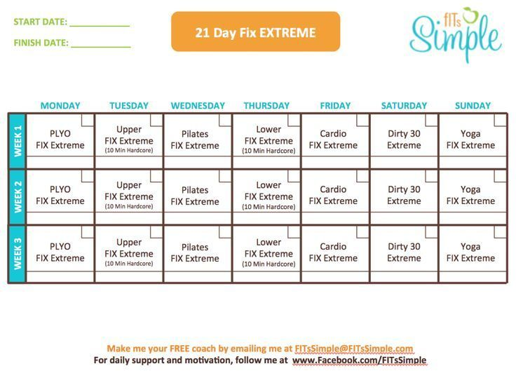 21 Day Fix Extreme Workout Calendar: