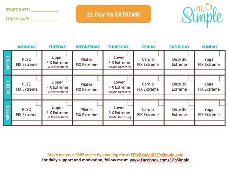 21 Day Fix Extreme Workout Calendar:
