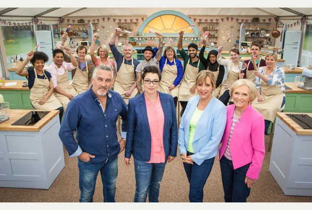 Paul Hollywood, Sue Perkins, Mel Giedroyc, Mary Berry  with The Great British Bake Off contestants