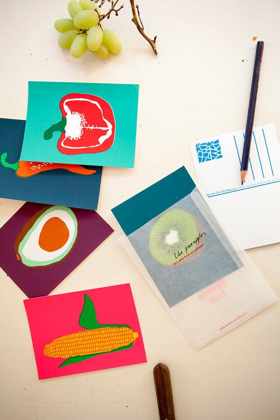 Six handmade screen printed colorful postcards by weareoutofoffice