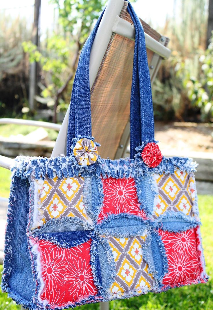 Idea: Crochet Granny Squares For The Centerse Denim Circle Rag Bag  Pattern From Accuquilt Shows You How To Make A Purse From Your Recycled  Denim Jeans!