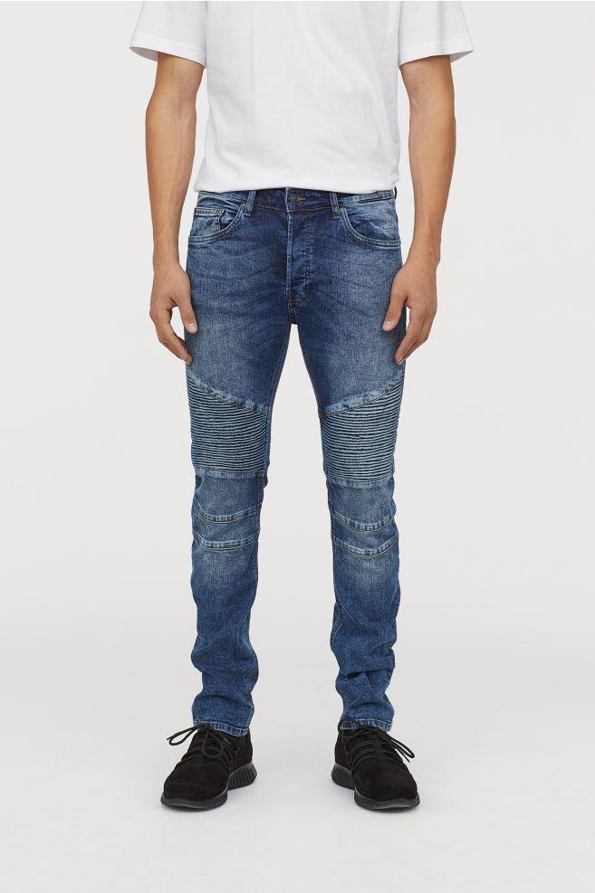 Mens spring biker denim Jeans pants Slim fit Printed Denim jeans Pants Trousers