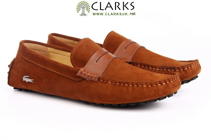 LACOSTE-Boat-Shoes-Concours-Penny-Loafer-Slip-On-Suede-orange-brown