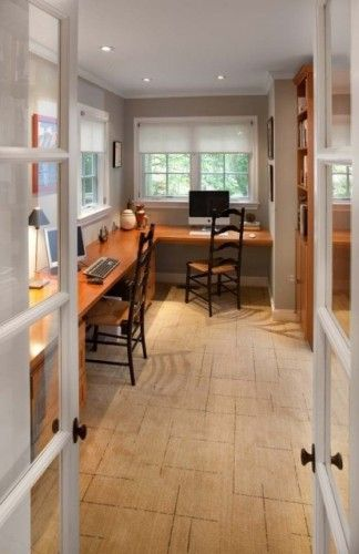 Great idea for a small office space!: Decor, Offices Desks, Ideas, Offices Spaces, Homework Area, Home Offices Design, House, Traditional Home Offices, Traditional Homes