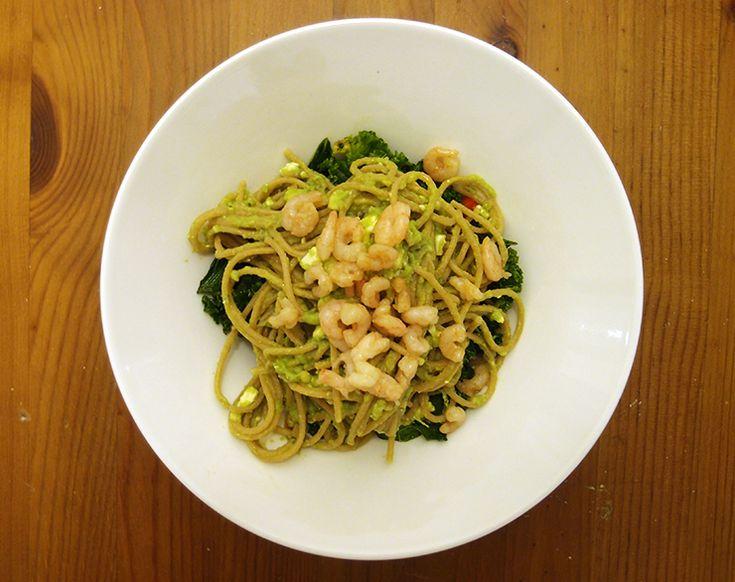 Avocado pasta: avocados, garlic, chili, olive oil, feta cheese, shrimps