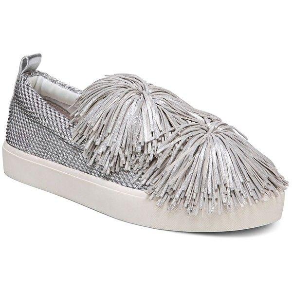 Sam Edelman Women's Emory Metallic Tassel Pom-Pom Slip-On Sneakers ($105) ❤ liked on Polyvore featuring shoes, sneakers, silver, pom pom sneakers, pom pom shoes, metallic shoes, silver slip on shoes and silver trainers