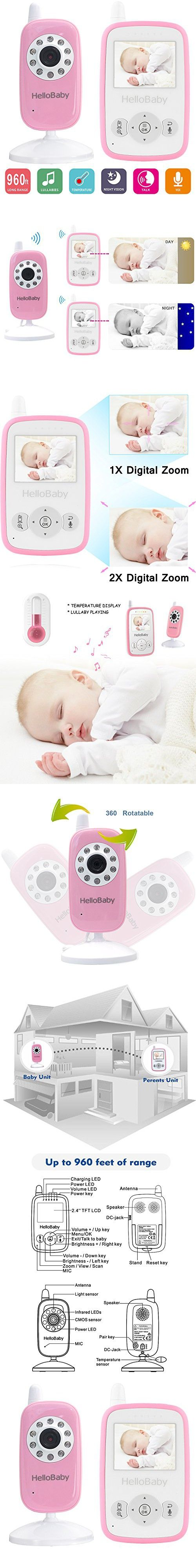 HelloBaby Wireless Video Baby monitor Security Camera with 2-way Talk & Night Vision and Temperature Monitor, Pink & White
