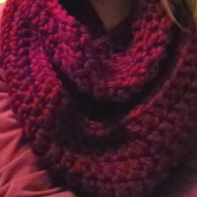 DIY Infinity Scarf!  2 skeins bulky yarn (I used Hometown USA Lion Brand in Napa Valley Pinot) Size P crochet hook  Chain 100 and connect with a slip stitch. Chain 2 then double crochet in each hole all the way around. Connect with slip stitch and continue for 7-8 rows, or until scarf is desired size :)