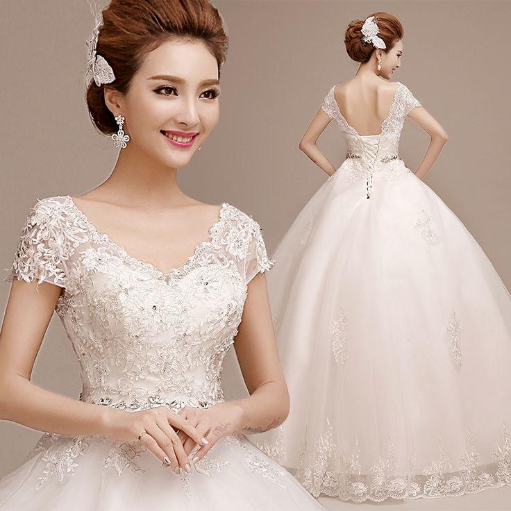 2016 bride plus size Lace up double-shoulder wedding dress slit v-neck summer