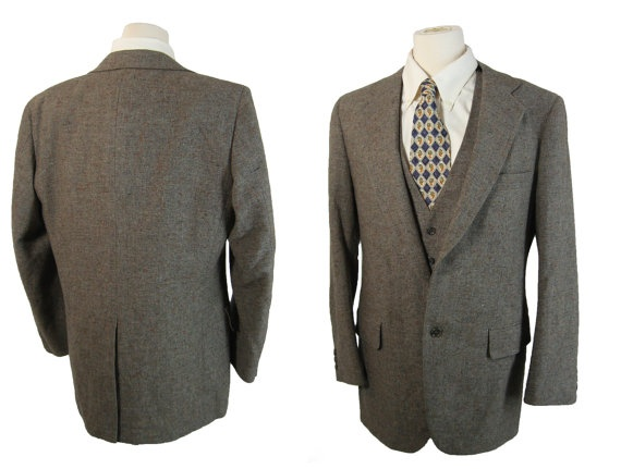 Vintage Gray Tweed Two Button Sport Coat and Vest. Two Piece by Adams Row Richman. 38 39. $49.00, via Etsy.