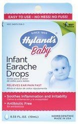 Hyland's Baby Infant Earache Drops, 0.33 Fluid Ounce by Hyland's Homeopathic. $8.89. Homeopathic. All natural. Relieves ear pain fast. Good for swimmer's ear. Easy to use dropper bottle. It relieves the symptoms in a citric acid base to help neutralize the PH level in the ear. Non-habit forming, which is aspirin and acetaminophen free can be used in conjunction with other medications.