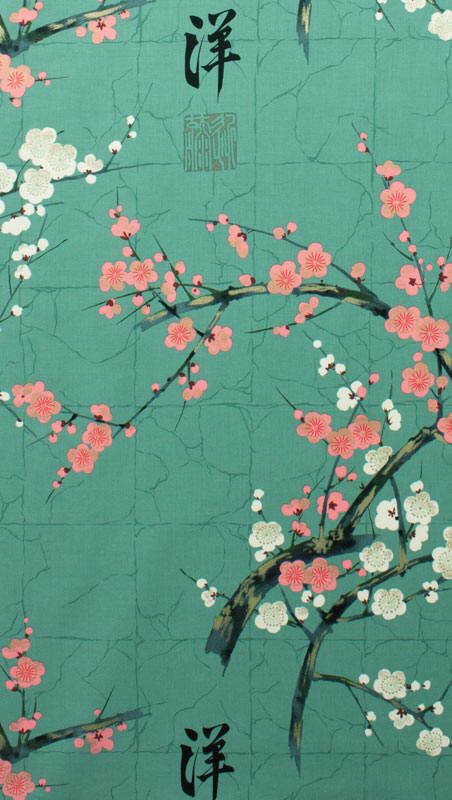 Japanese Asian Fabric - Cherry Blossom Branches-Teal color scheme but more blue not green maybe a dash of gold