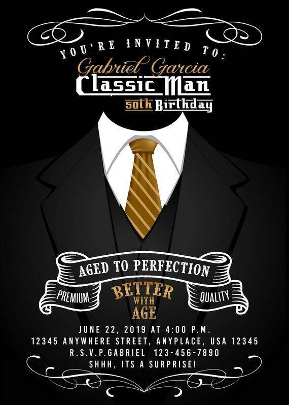 Classic Man Invitation Classic Man Invite 50th Birthday Invitation Vinta 50th Birthday Party Ideas For Men 50th Birthday Party Invitations 50th Birthday Men Mens 50th birthday invitations