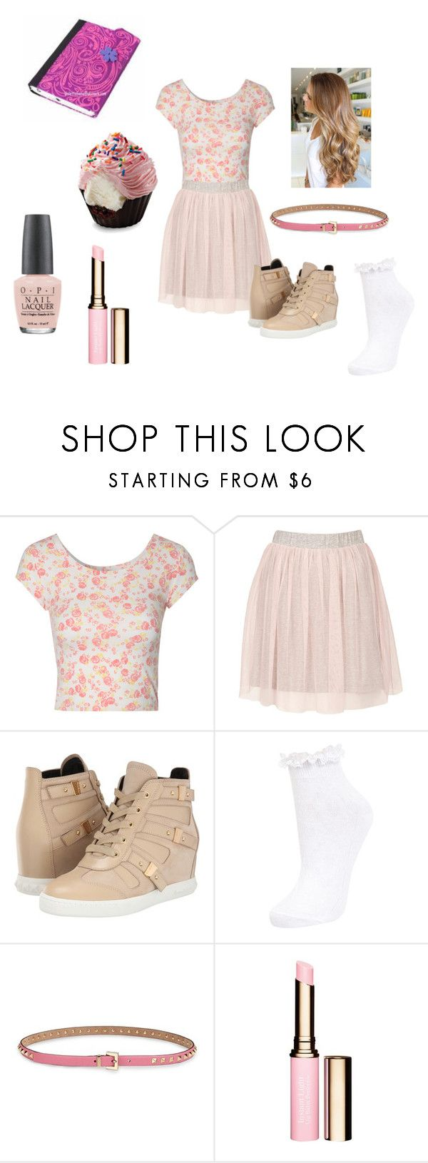 """""""Violetta pink"""" by idapolyvore ❤ liked on Polyvore featuring Jane Norman, Topshop, Pierre Balmain, Miss Selfridge, Valentino, Clarins, OPI, women's clothing, women and female"""