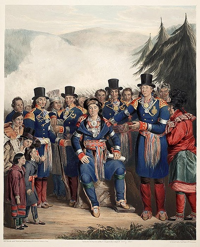 The Presentation of a Newly-Elected Chief of the Huron Tribe, Canada (1841)