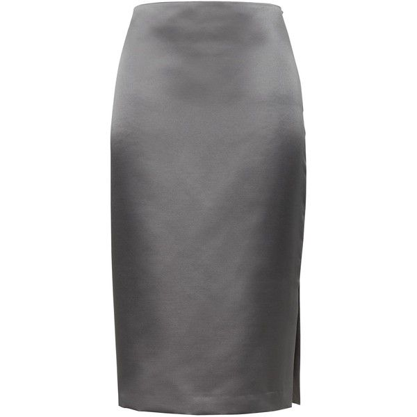 Satin Pencil Skirt with Side Slit (£71) ❤ liked on Polyvore featuring skirts, knee length pencil skirts, side slit pencil skirt, pencil skirts, satin skirt and satin pencil skirts