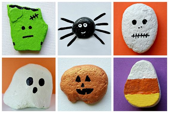 rock painting ... my littles would love this: For Kids, Halloween Rocks, Halloween Crafts, Kids Crafts, Painted Rocks, Rock Painting, Craft Ideas