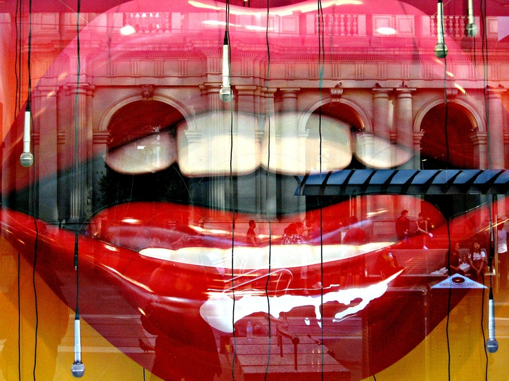 Hot Lips! Window display of a fashion store in Melbourne, Australia. I love the reflections visible in the glass.
