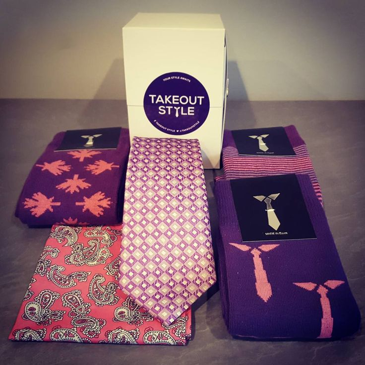 The Purple Style Box! Check out the intriguing patterned tie, the socks are patriotic and fun and the pocket square will dress up any suit. Buy now at www.takeoutstyle.com  #whichcolourareyou  #yourstyleawaits