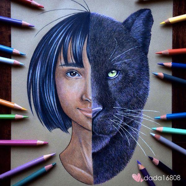 Mowgli y Bagheera. Una vez que siente que la obra está terminada, le da un acabado con spray para evitar que la tinta se corra o se desvanezca. - Foto: instagram.com/dada16808/