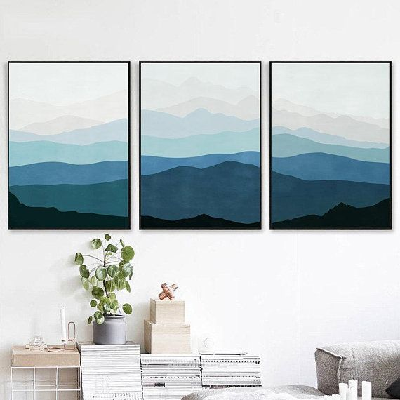 Abstract Mountains Set Of 3 Downloadable Prints Blue Wall Art Etsy Grey Wall Art Mountain Wall Art Blue Wall Art
