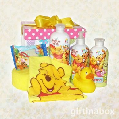It's bath time with this lovely range of Winnie the Pooh kid's bathing products. All beautifully presented in a kid's gift box with ribbons and bows. Sure way to get them to love bathing!   Bubble bath Shampoo Body lotion Soap Winnie the Pooh bath mitt Winnie the Pooh magic facecloth Bath sponge Bath duck