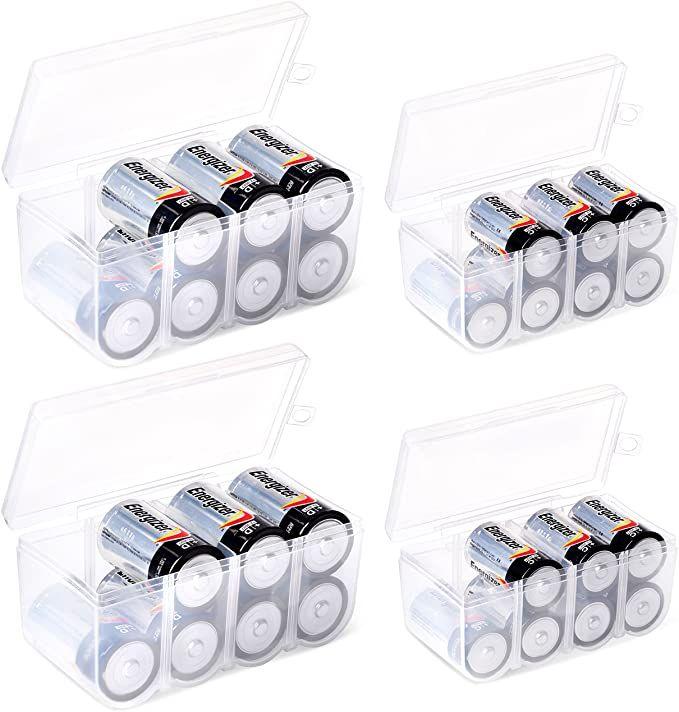 Amazon Com Glossyend Set Of 4 Two Aa And Two Aaa Battery Storage Box Battery Storage Case Battery Holder Cl Battery Storage Storage Junk Drawer Organizing