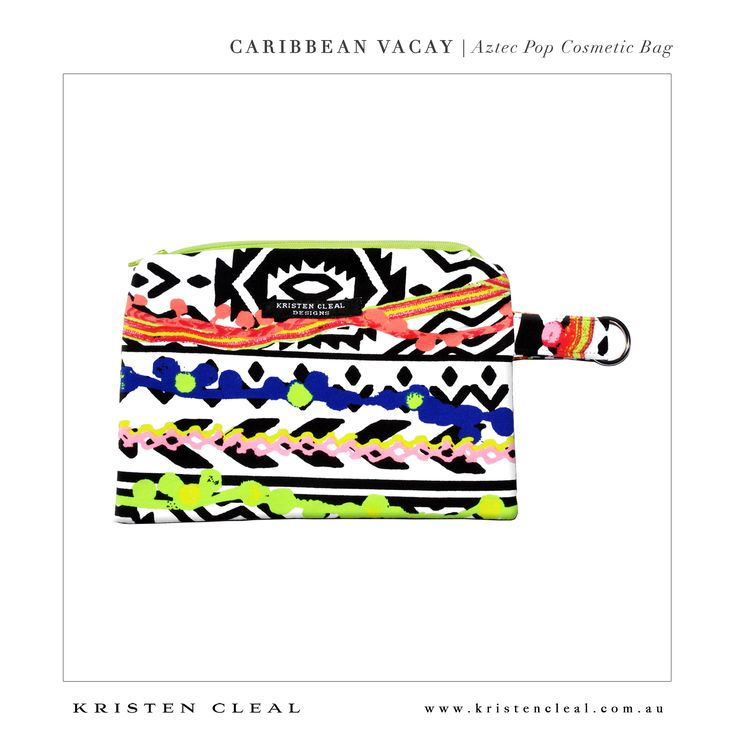 Aztec Pop Cosmetic Bag by Kristen Cleal Designs  Caribbean Vacay 2014 Collection