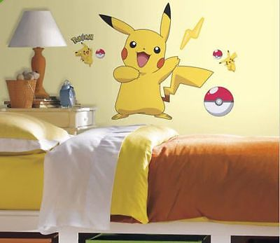"PIKACHU wall stickers Pokemon MURAL 12 decals room decor Pokeball 28""x29"""