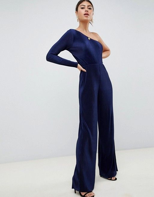5782d7691e3e ASOS DESIGN one shoulder plisse jumpsuit Holiday Party Outfit, Holiday  Parties, Holiday Dresses,