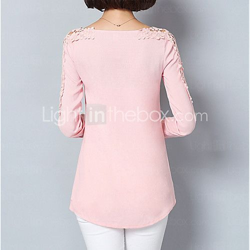Feminino Camisa Social Para Noite Formal Trabalho Sensual Moda de Rua Sofisticado Todas as Estações Primavera,SólidoAzul Rosa Branco de 2017 por R$35.46