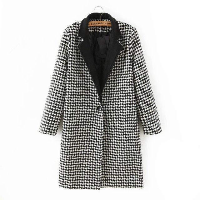 Зима Шерсти Пальто Женщин 2015 Новый Горячий Классический Черный Белый Плед печати Женщины Шерстяное Пальто Тонкий Тонкий Шерсть Теплый Длинное Пальто XL