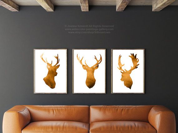 Squash Deer Head Set of 3 Giclee Fine Art Print by Silhouetown
