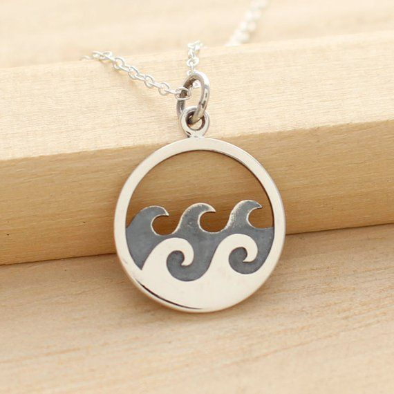 Waves Necklace Sterling Silver Waves Pendant Surfer