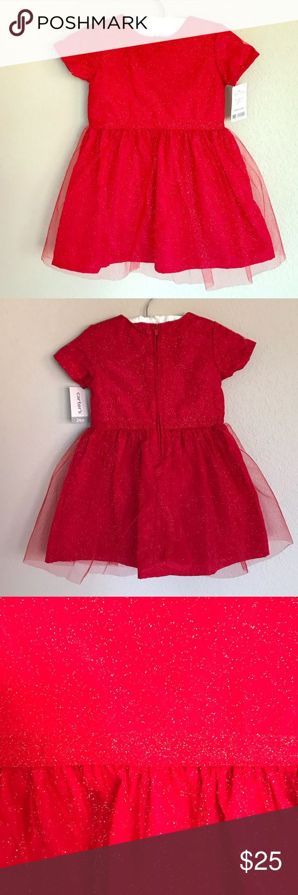 Carters Red Holiday Dress, Subtle Gold Glitter 24m Bright red dress with gold glitter detailing. Mesh along the fabric on top and then separates to give two layers to the skirt. Zipper in the back. Comes with matching diaper cover. Carter's Dresses Formal