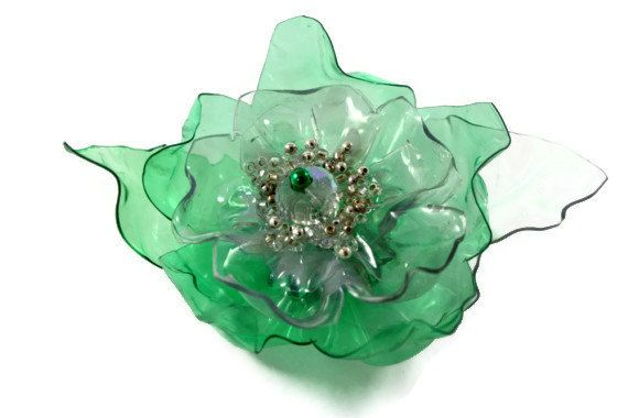 Green Flower Magnet, Comb, Pinback, Alligator or Hair Clip, Upcycled PET Plastic Bottle, Recycled Water, White Beaded, Scarf, Refrigerator